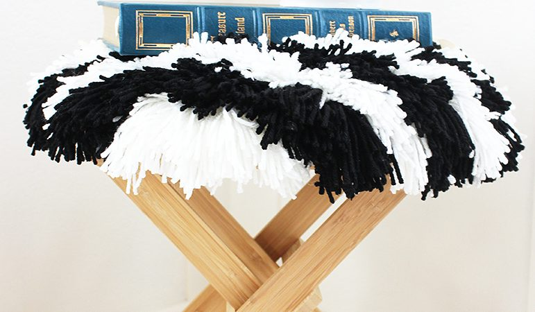 DIY Striped Shag Footstool - IKEA hack