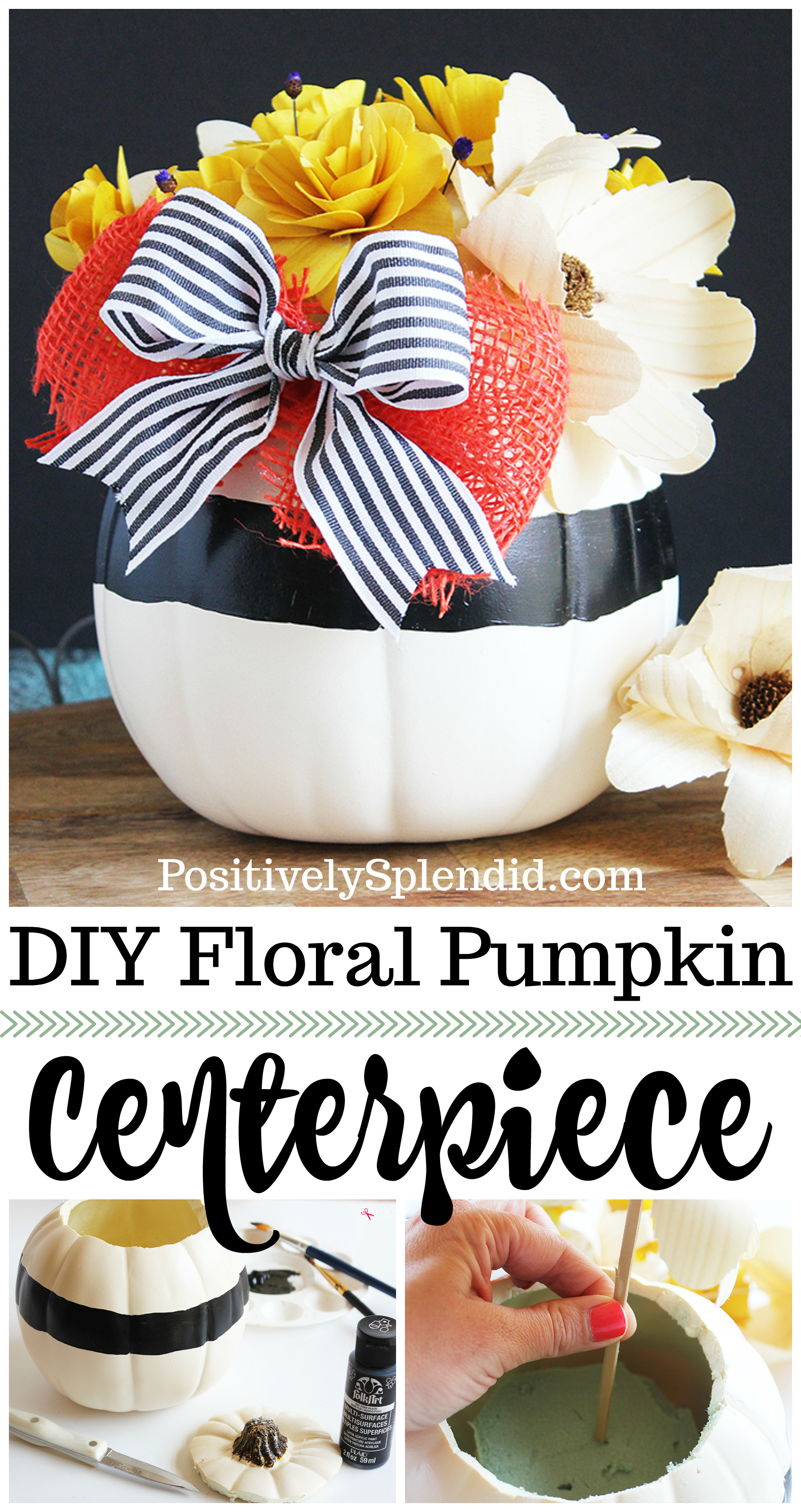 DIY Pumpkin Centerpiece - Made with pretty wood flowers and an artificial pumpkin from Michaels #makeitwithmichaels #michaelsmakers