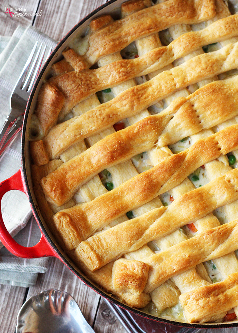 Chicken Pot Pie with Crescent Roll Crust--a perfect weeknight dinner recipe your entire family will love!