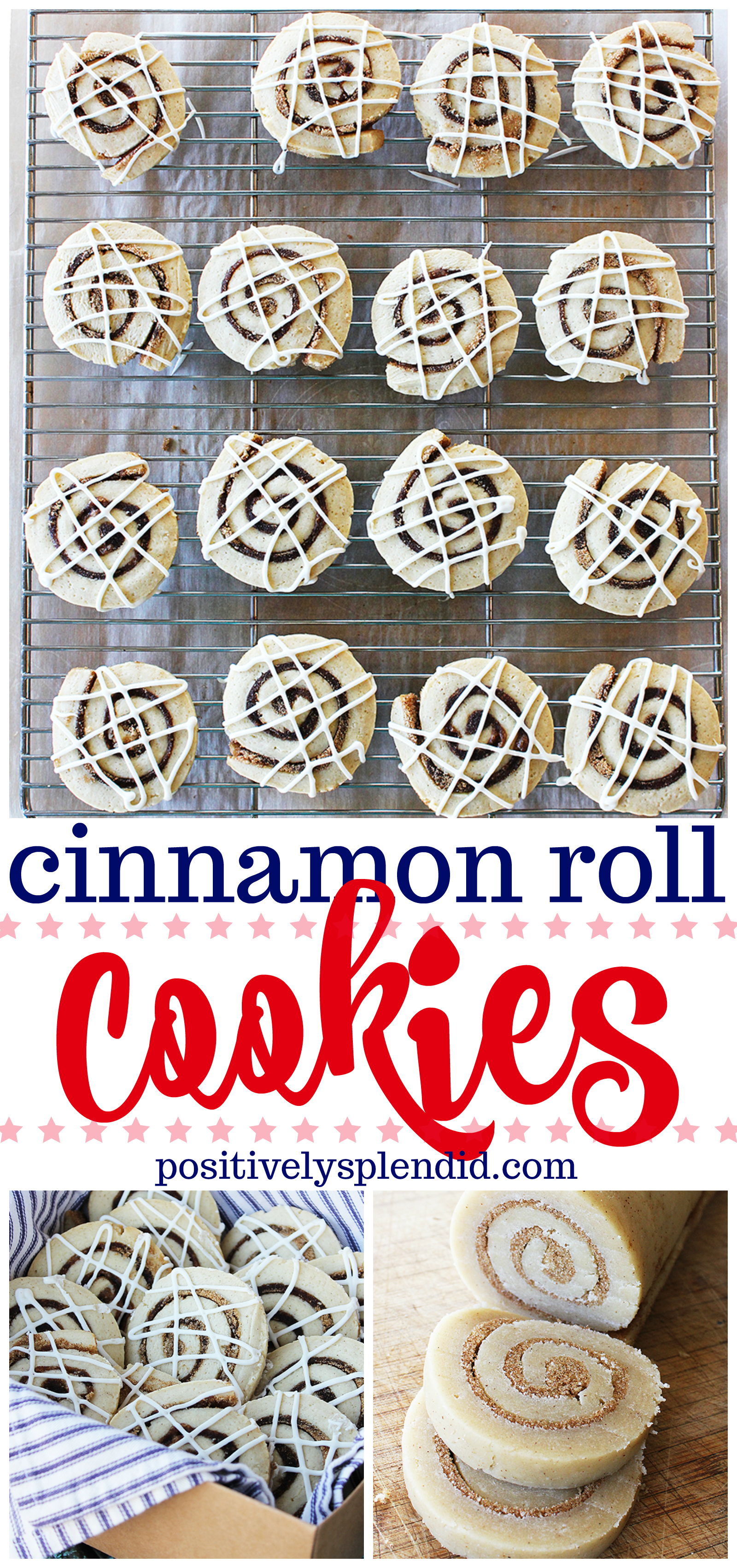 Cinnamon Roll Cookies with Cream Cheese Glaze