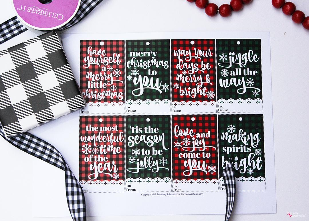 Free printable plaid Christmas gift tags