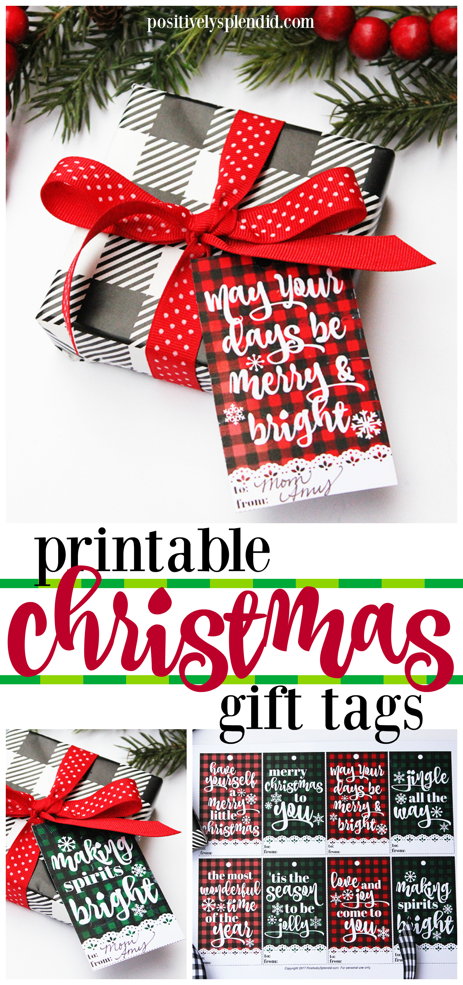 Printable Plaid Christmas Gift Tags