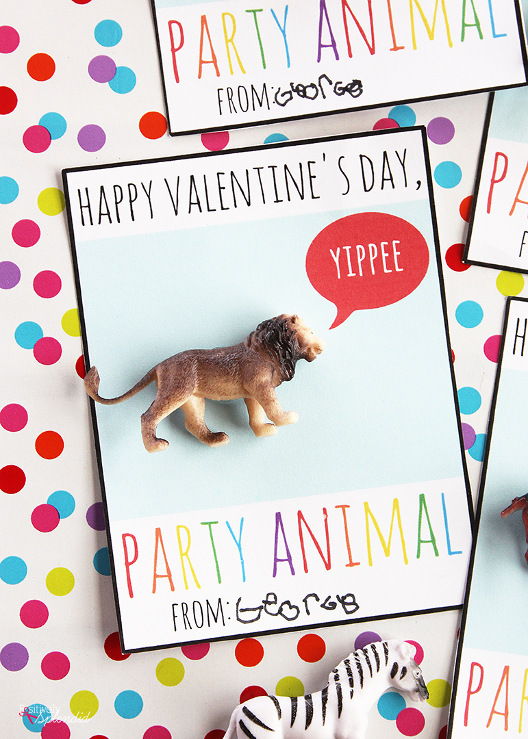 Party Animal Printable Valentine Cards - A fun candy-free classroom valentine idea!