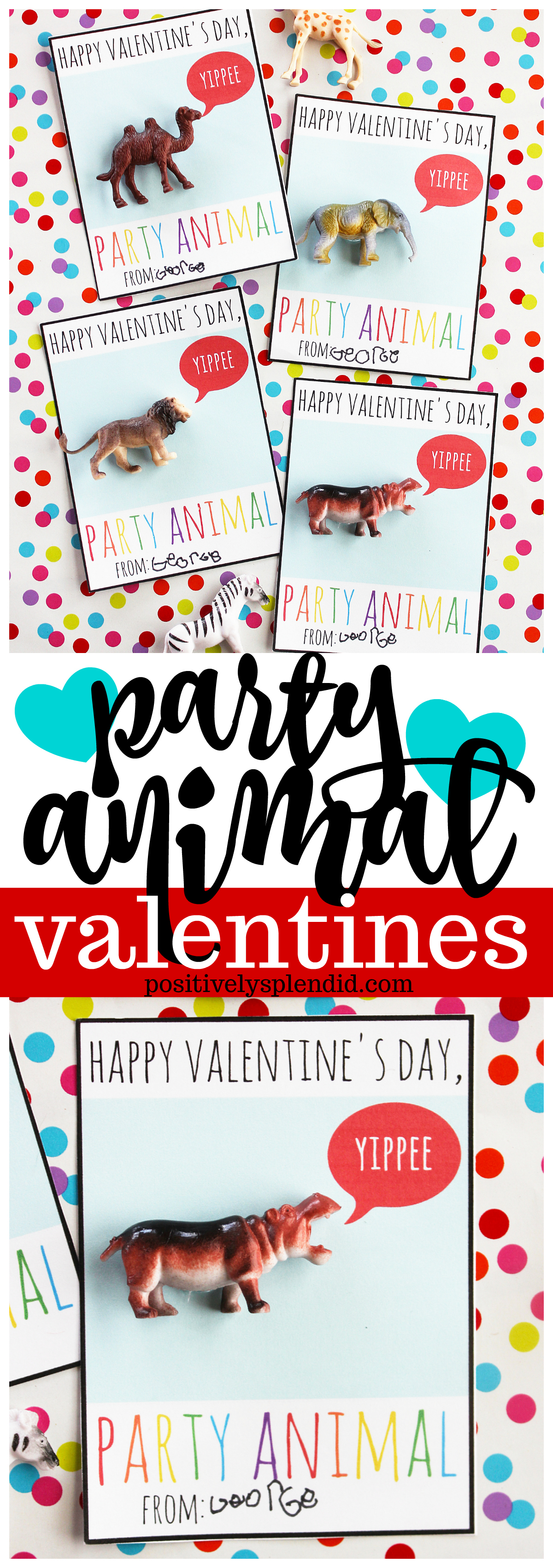 Party Animal Printable Valentines - A fun candy-free classroom valentine idea!
