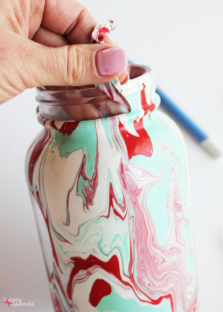 Marbled Mason Jar Craft Idea