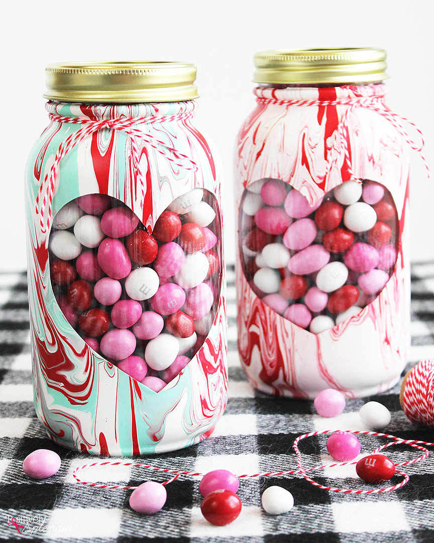 Valentine Mason Jar With Marbled Paint Easy Valentine S Day Craft Idea