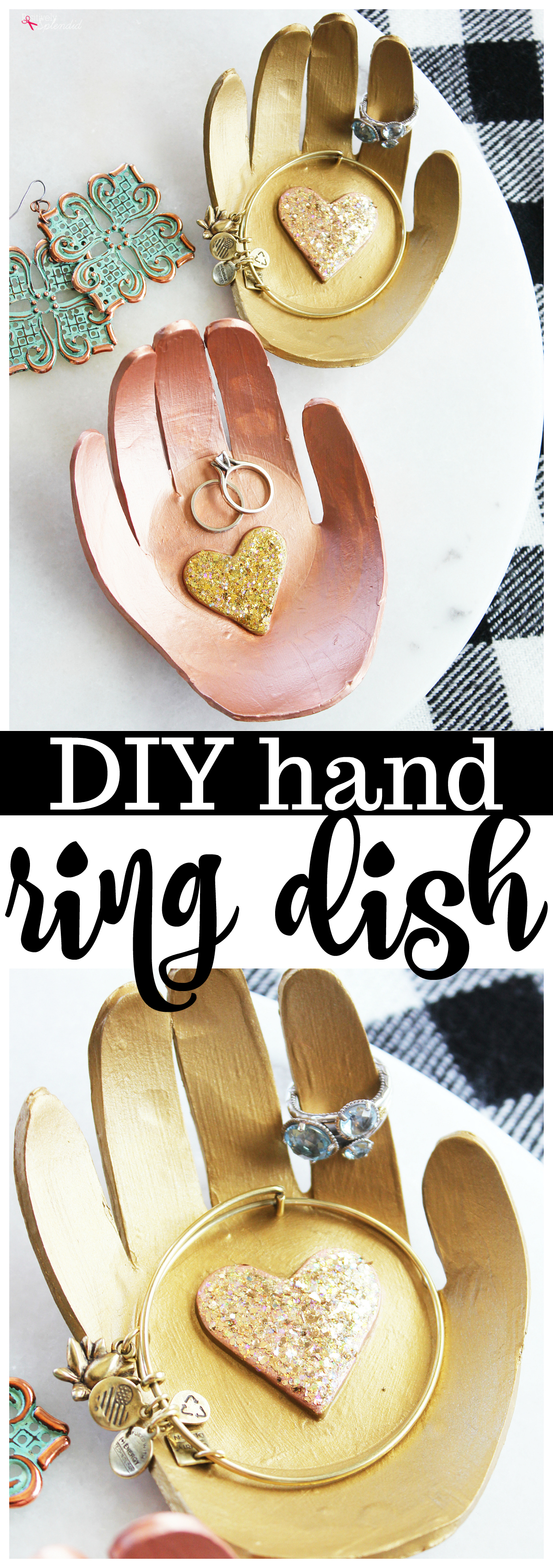 DIY Hand Ring Dish - A great handmade gift idea to make with kids' handprints!