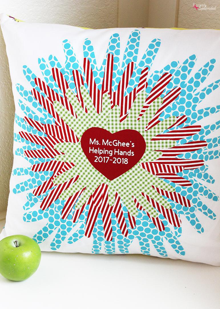 Handprint Pillow Class Project Idea - Great for a silent auction!