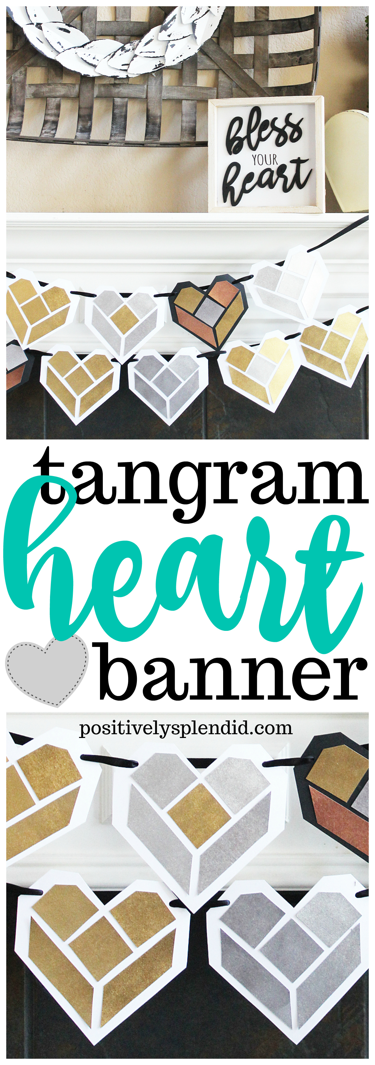 Tangram Heart Valentine Banner with Free Printable Templates