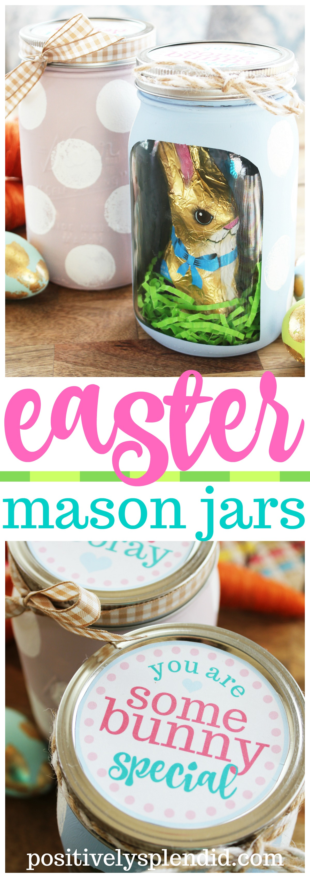 Polka Dotted Easter Mason Jar - So cute with a chocolate bunny inside!