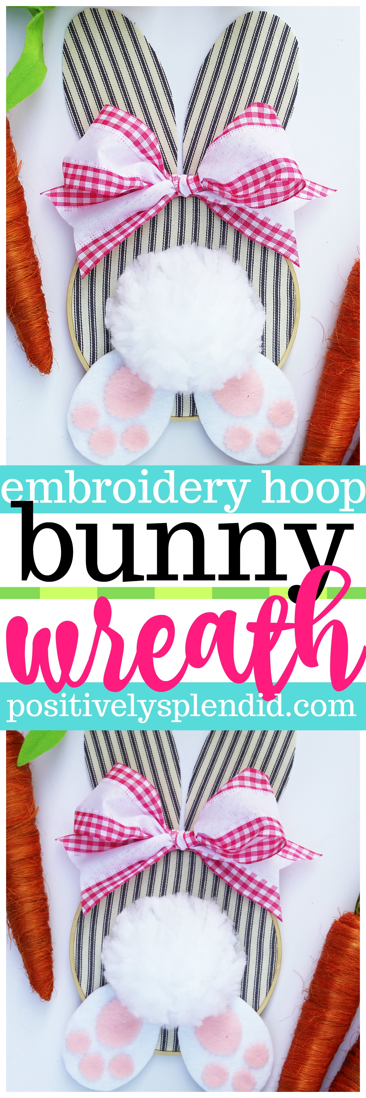 Embroidery Hoop Bunny Easter Wreath