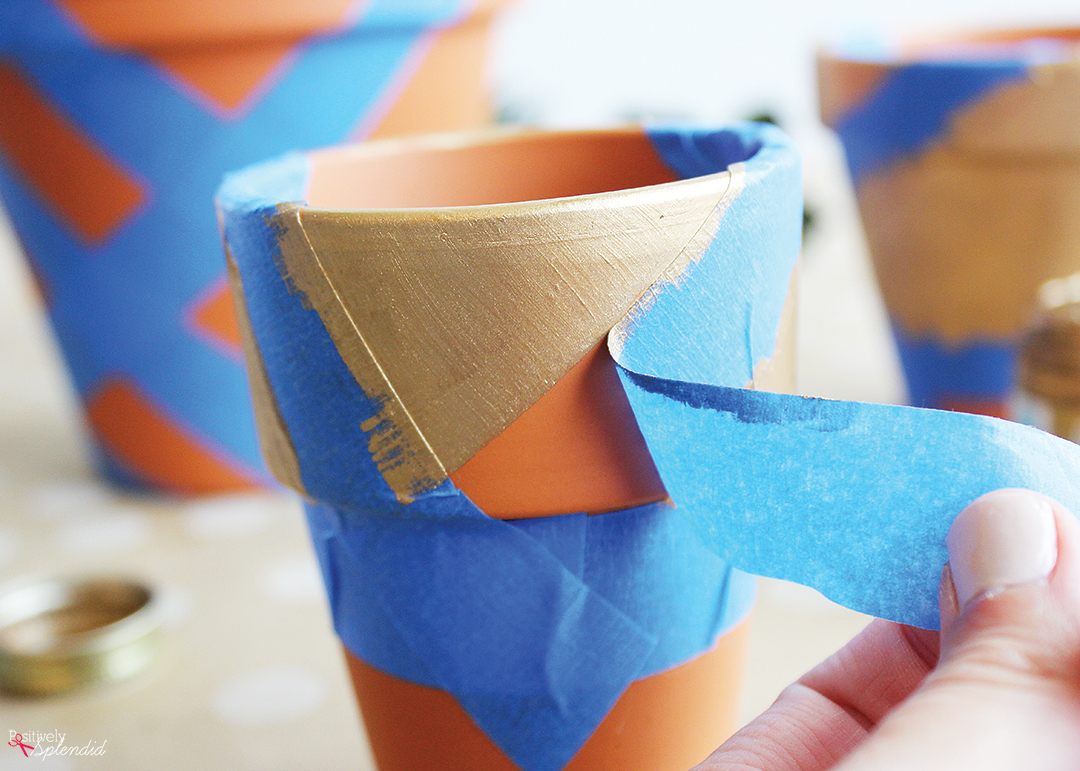 Painters Tape Clay Pot Designs DIY