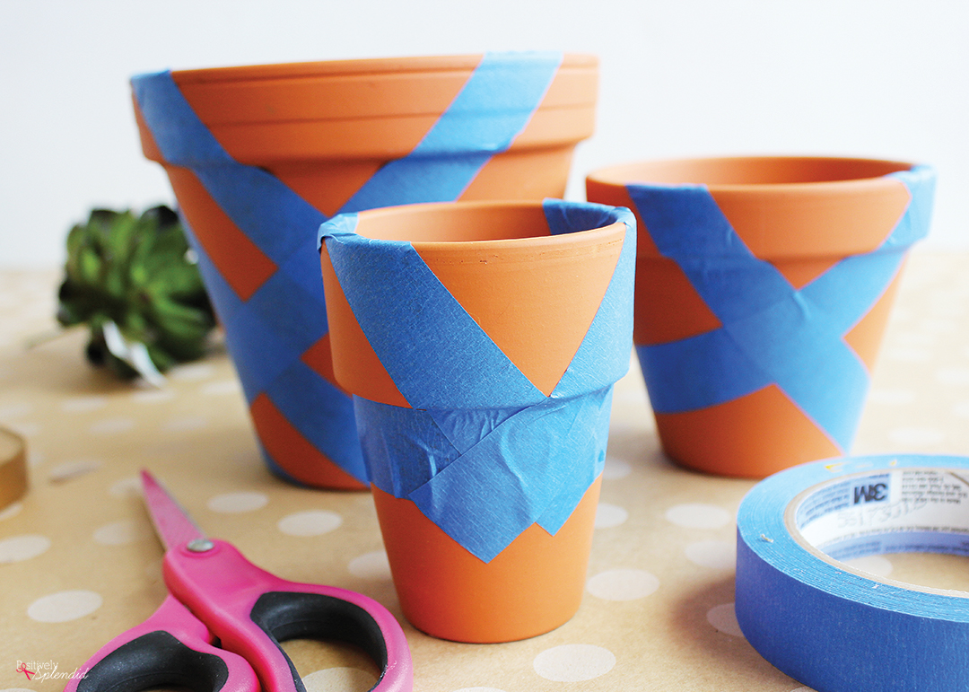 Painters Tape Clay Pots