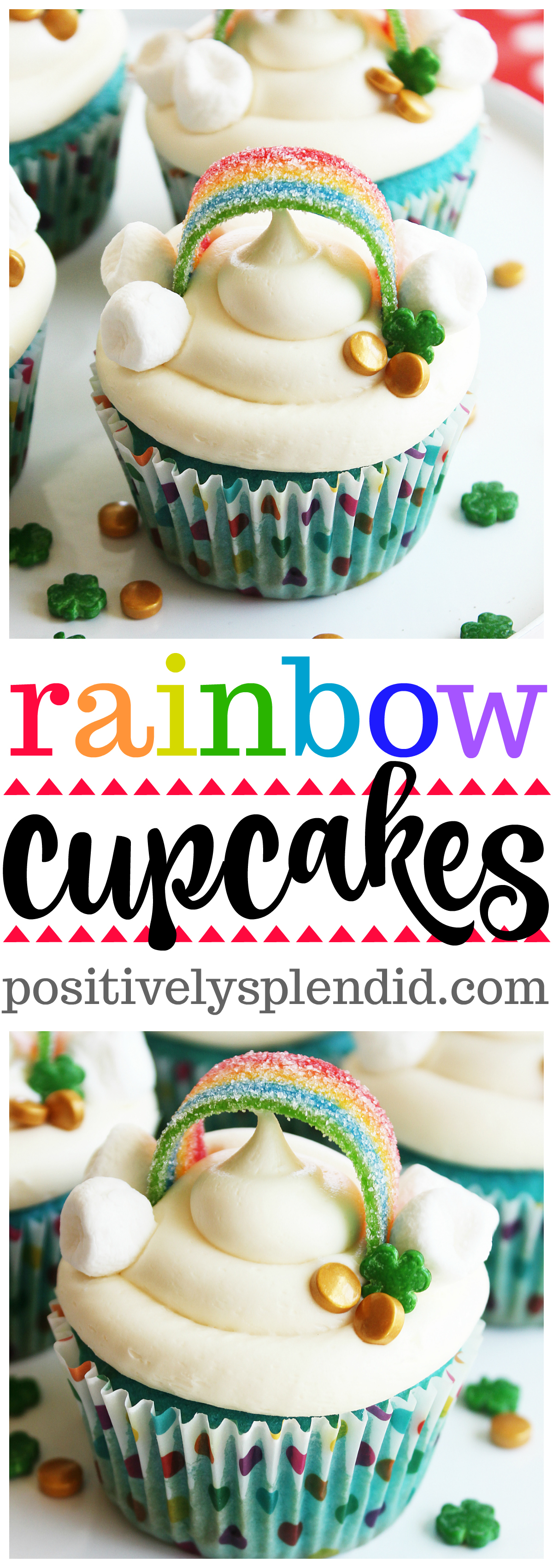 Easy and Adorable Rainbow Cupcakes