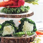 Spring Centerpiece with Tiered Wood Cake Stand