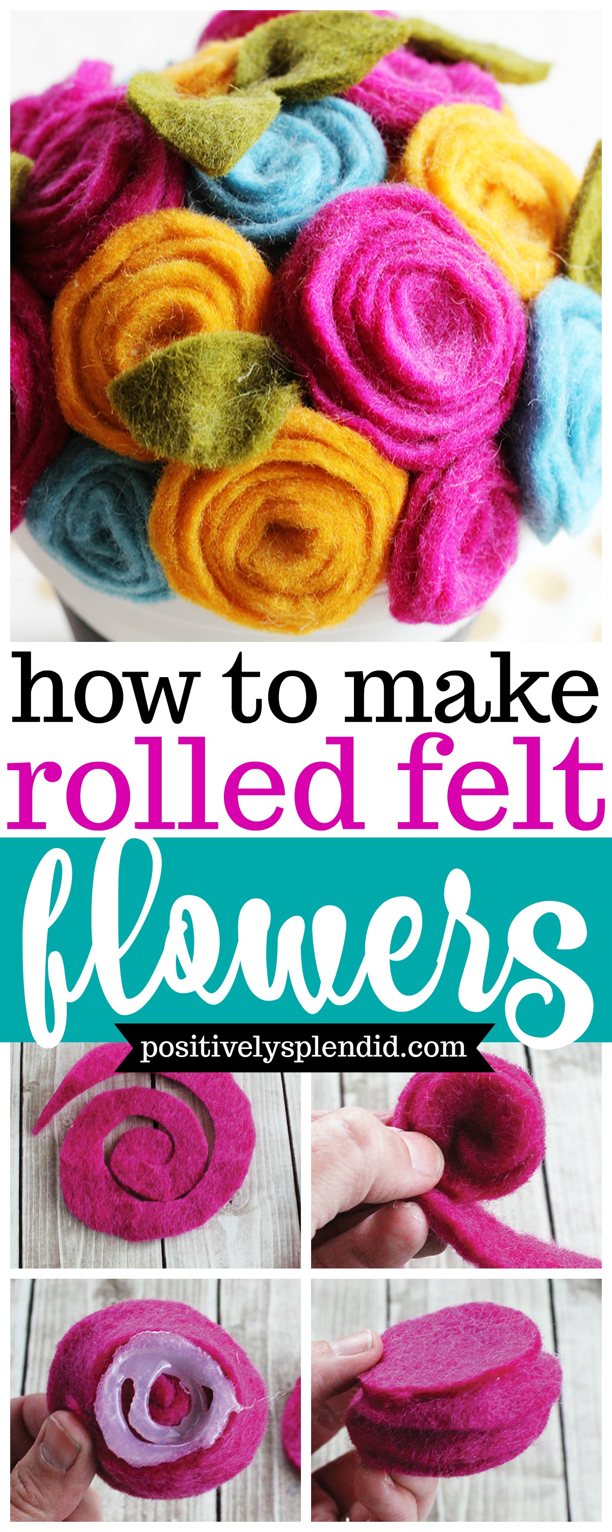 Easy Rolled Felt Flower Tutorial - Felt flowers perfect for wreaths, headbands and more!