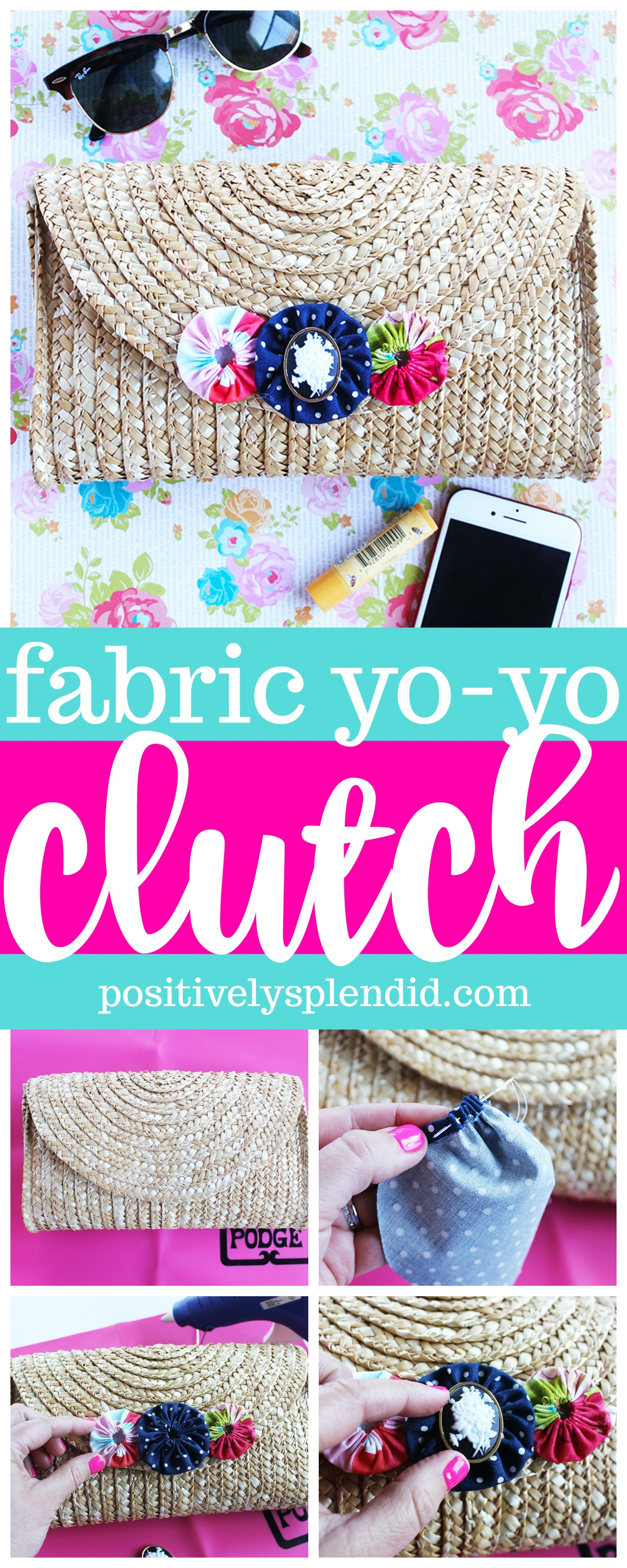 Fabric Yo-Yo Straw Clutch Handbag