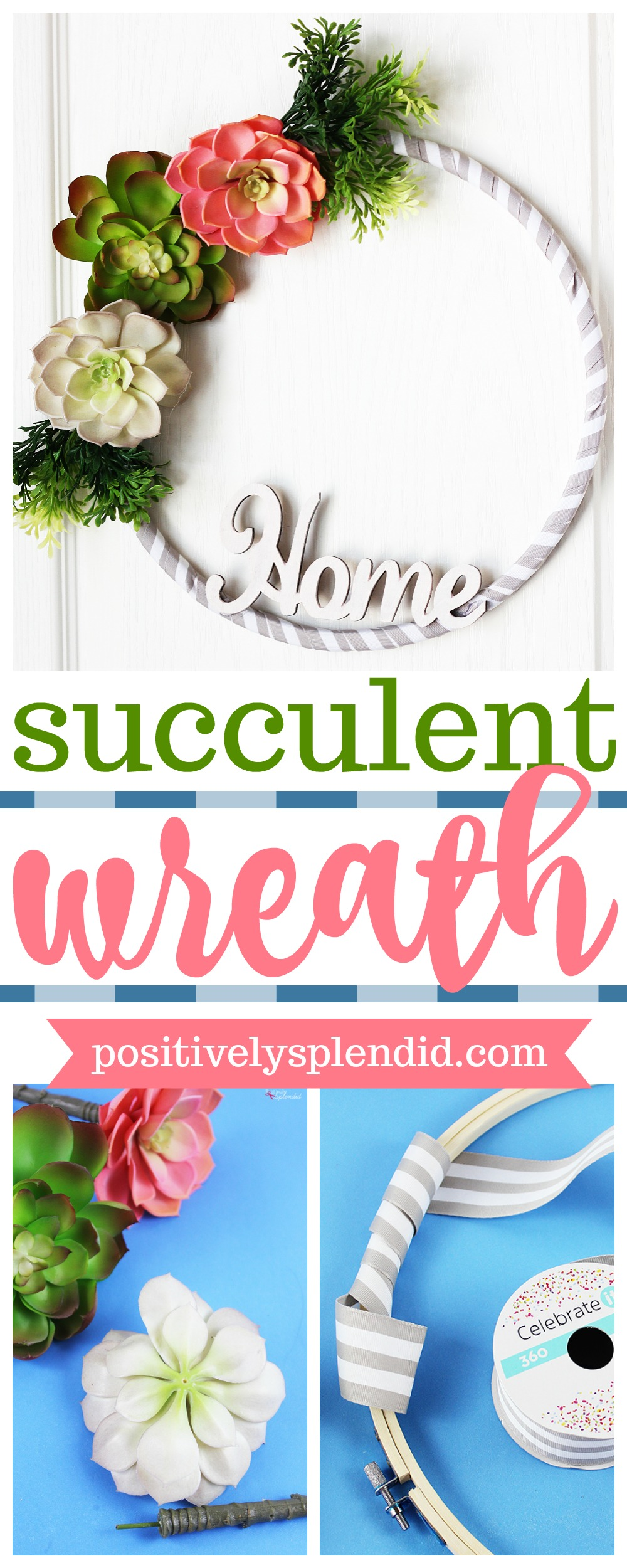 Faux Succulent Embroidery Hoop Wreath