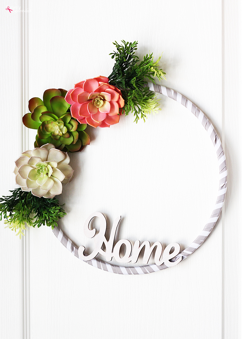 How to Make an Embroidery Hoop Wreath with Succulents
