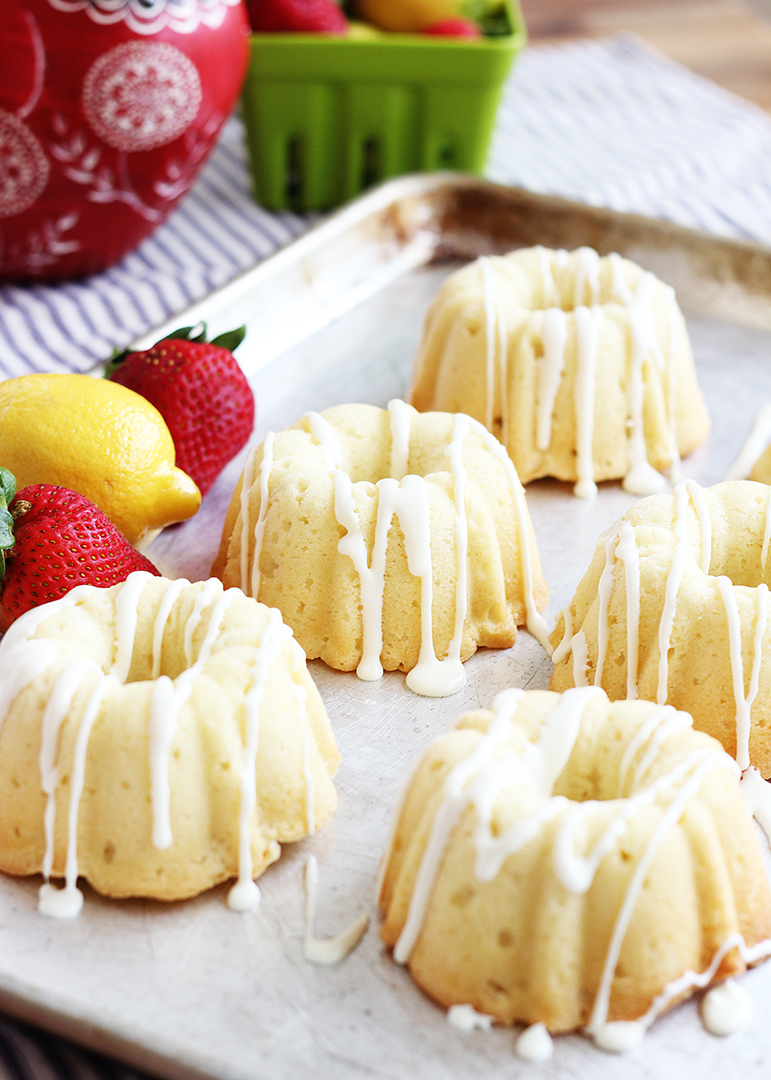 Lemon Sour Cream Mini Bundt Cake
