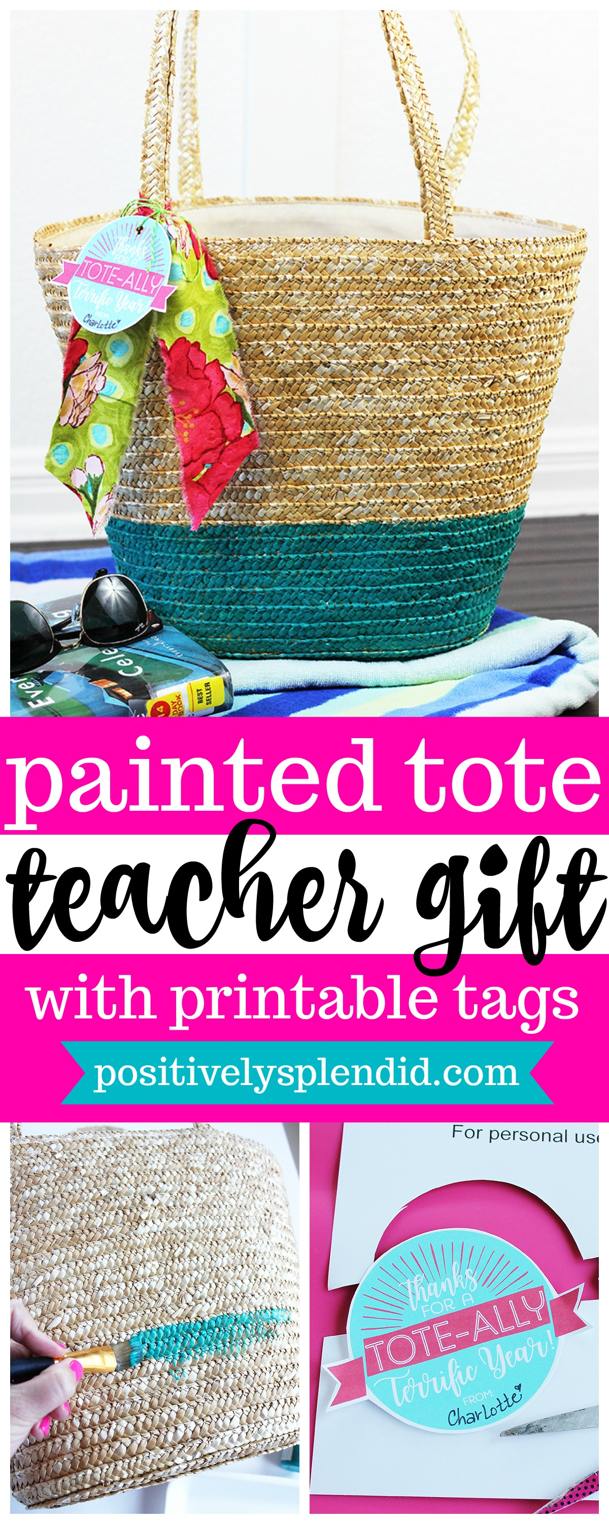 Painted Tote Teacher Gift with Free Printable Tags