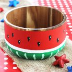 Painted Watermelon Wood Bowl