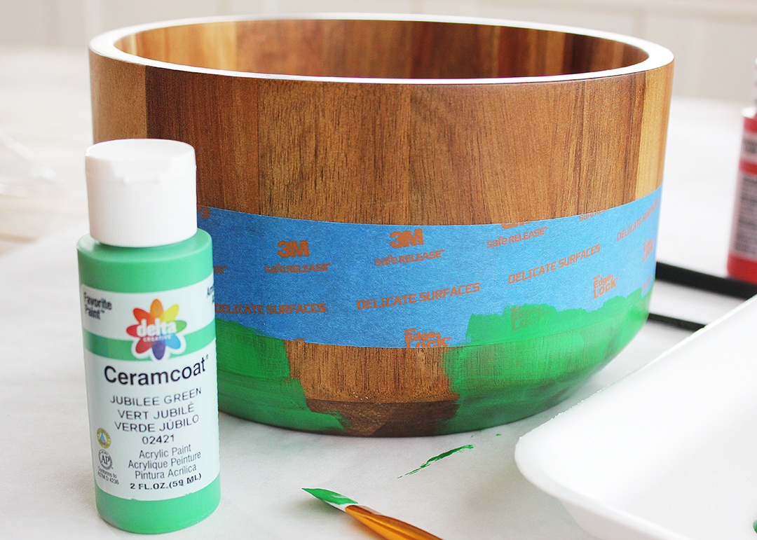 Painted Wood Bowl