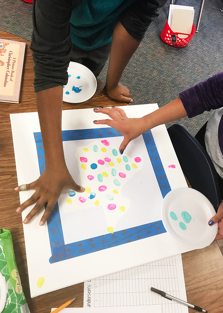 State Thumbprint Art Class Project