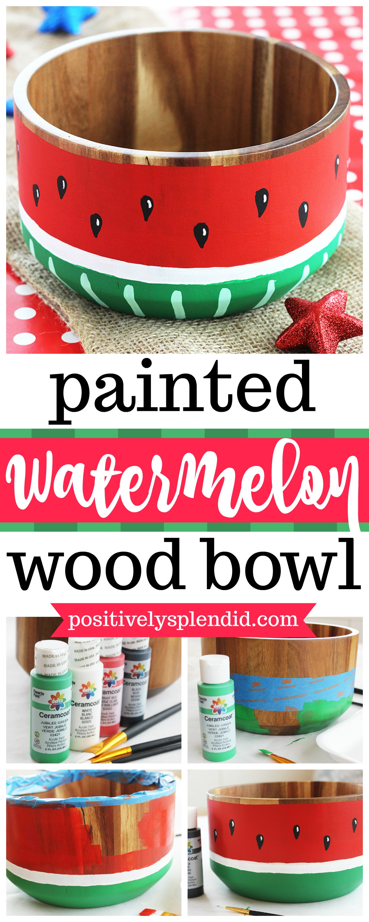 Watermelon Painted Wooden Bowl