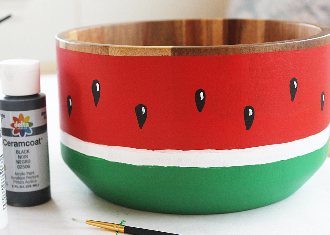 Wood Bowl Painted Like a Watermelon