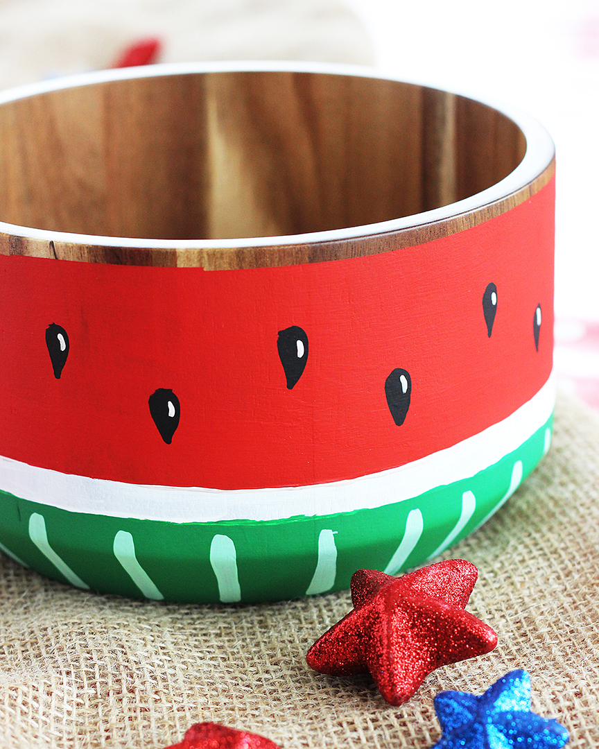 Wooden Bowl Painted Like a Watermelon