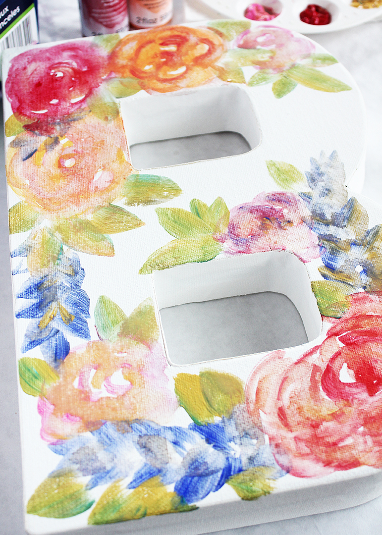 Canvas Monogram with Painted Watercolor Flowers