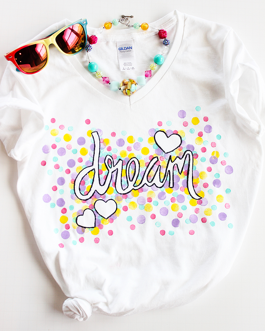 Confetti Freezer Paper Stencil Shirt