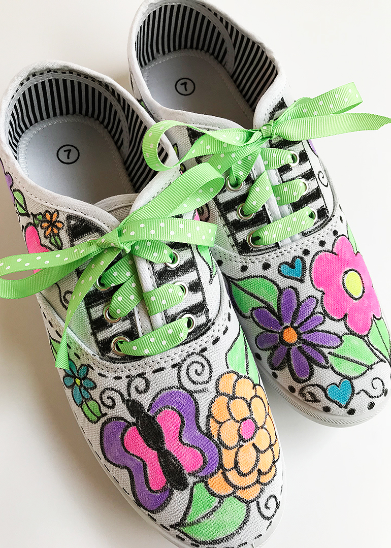 DIY Decorated Canvas Shoes with Fabric Markers