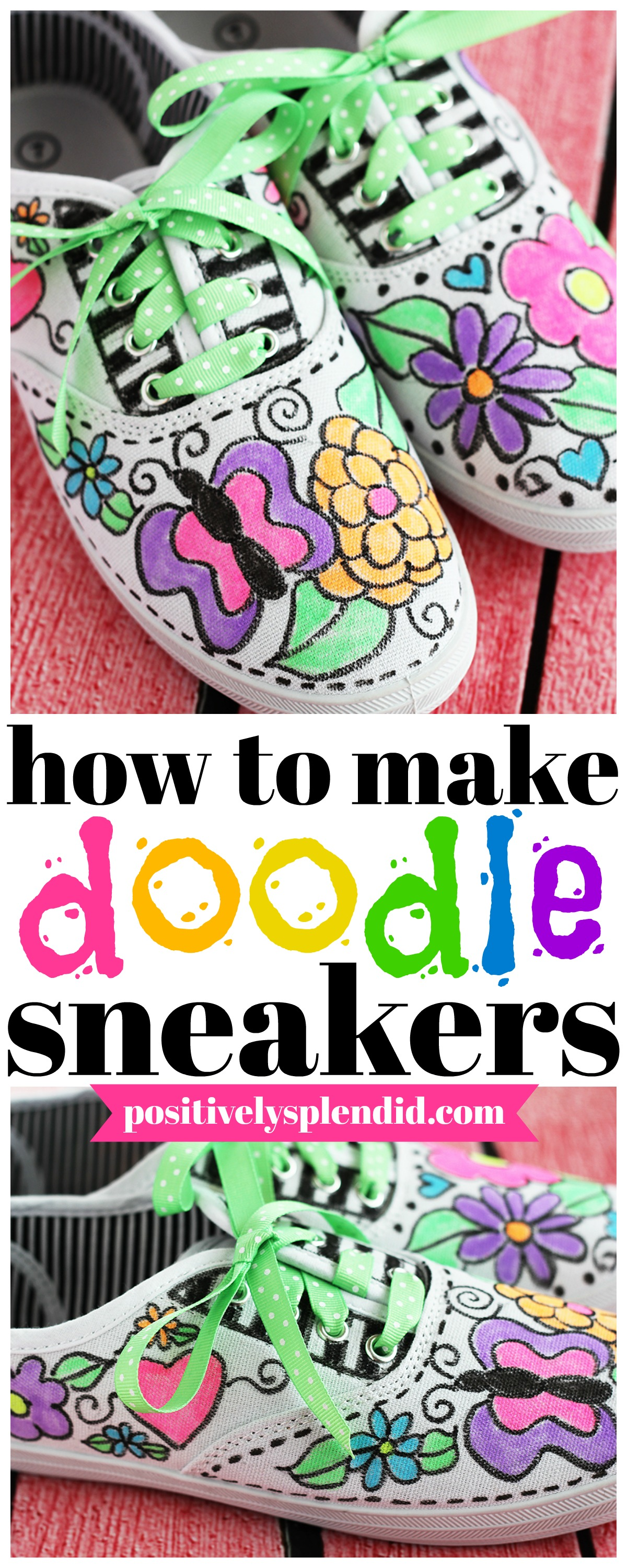 Doodle Fabric Marker Pen Embellished Canvas Sneakers