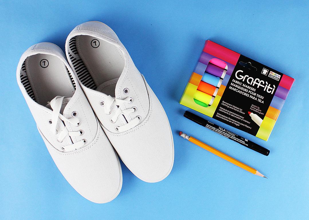 Fabric Marker Embellished Canvas Shoes