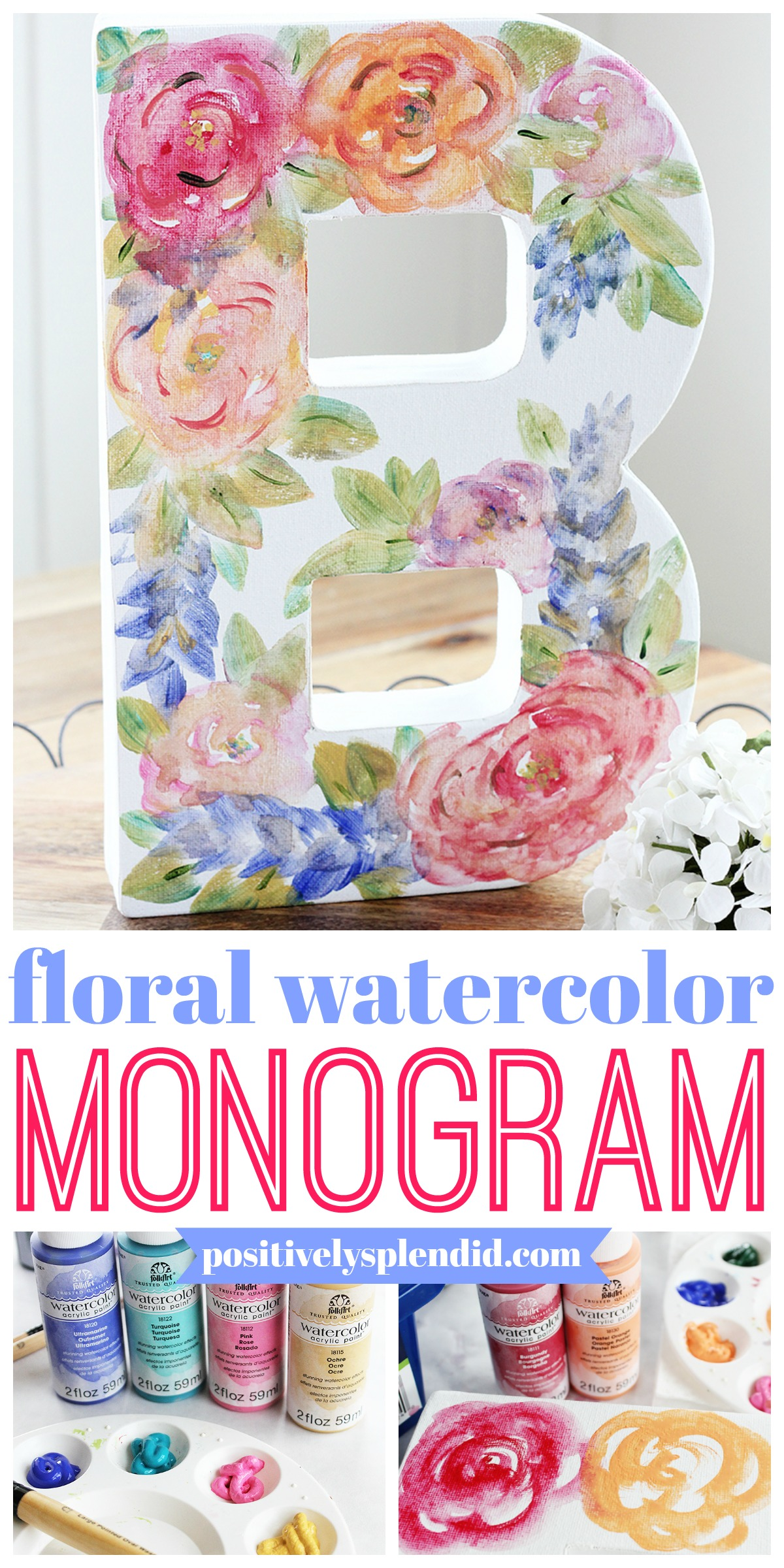 Floral Watercolor Monogram Canvas