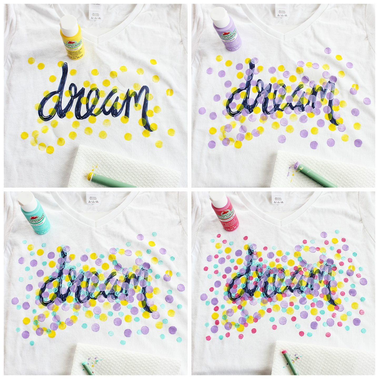 Painted Confetti Shirt with Freezer Paper Stencil