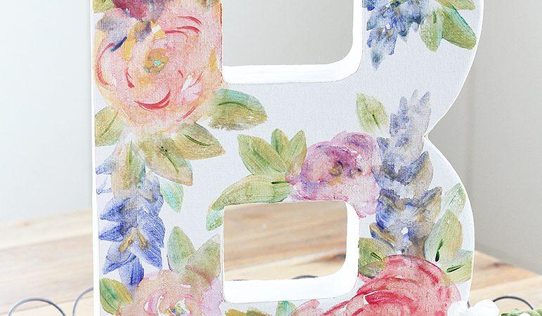 Watercolor Flower Canvas Monogram