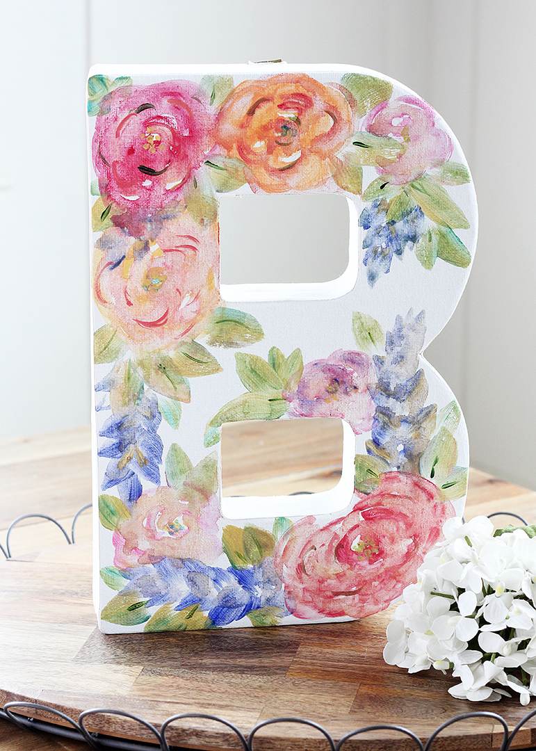Watercolor Flower Canvas Monogram