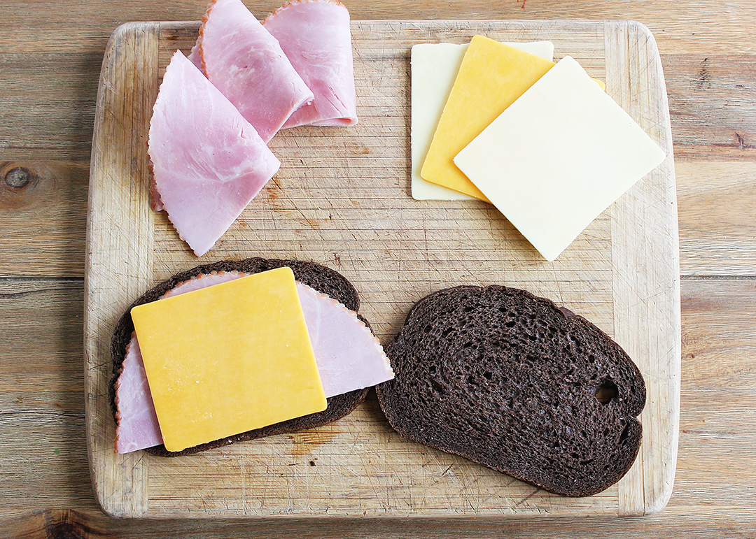 Sandwiches made with Boar's Head ham and cheese