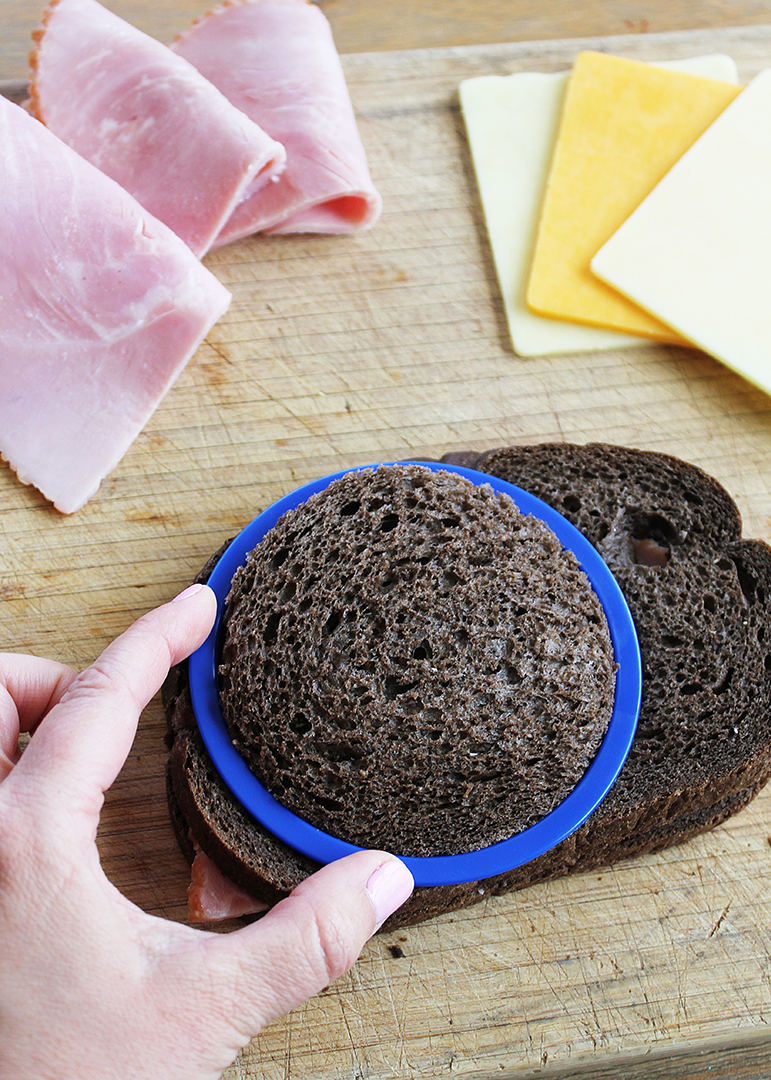 Cut sandwiches into shapes with cookie cutters