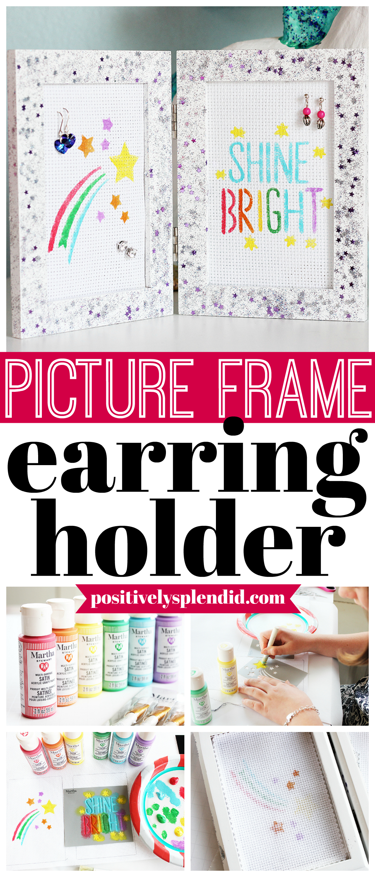 DIY Picture Frame Earring Organizer