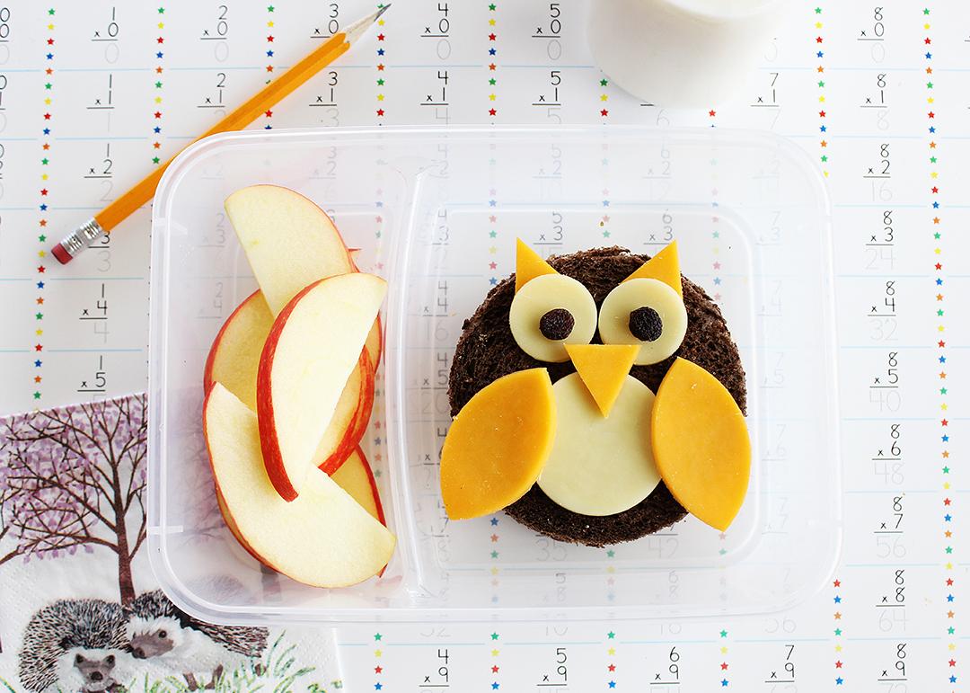 School lunch idea: mini owl sandwiches