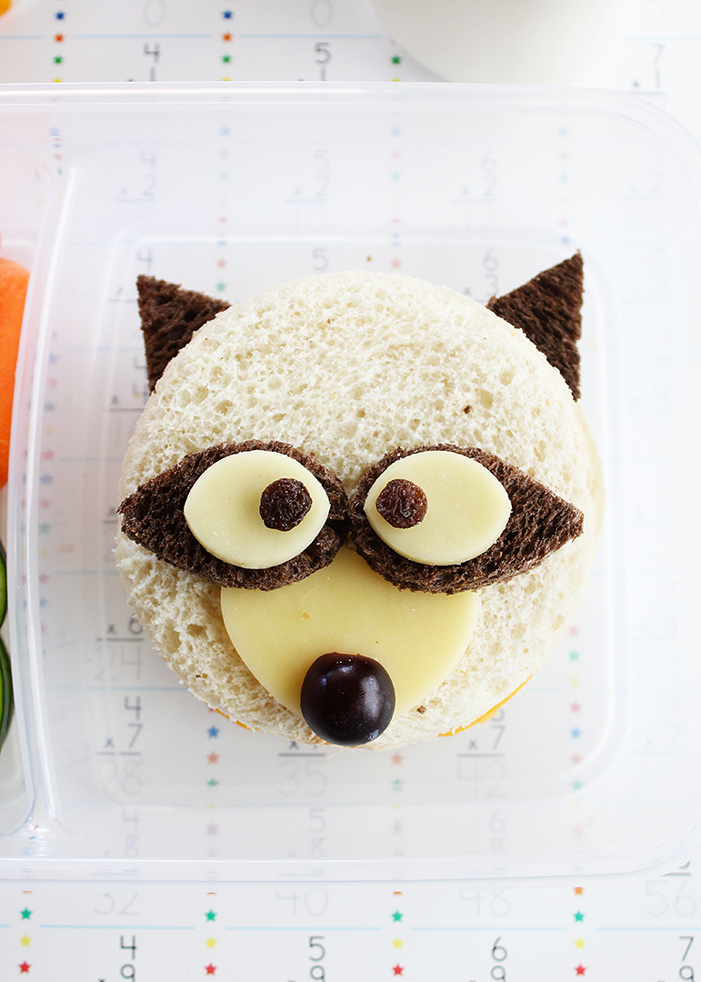 Adorable raccoon shaped sandwiches