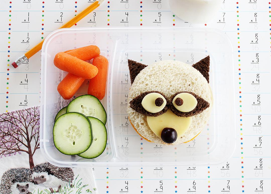 Fun school lunch idea: mini raccoon sandwiches