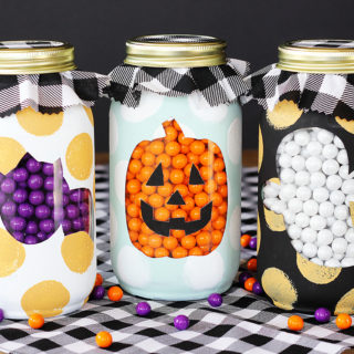 Chalk Painted Halloween Mason Jars