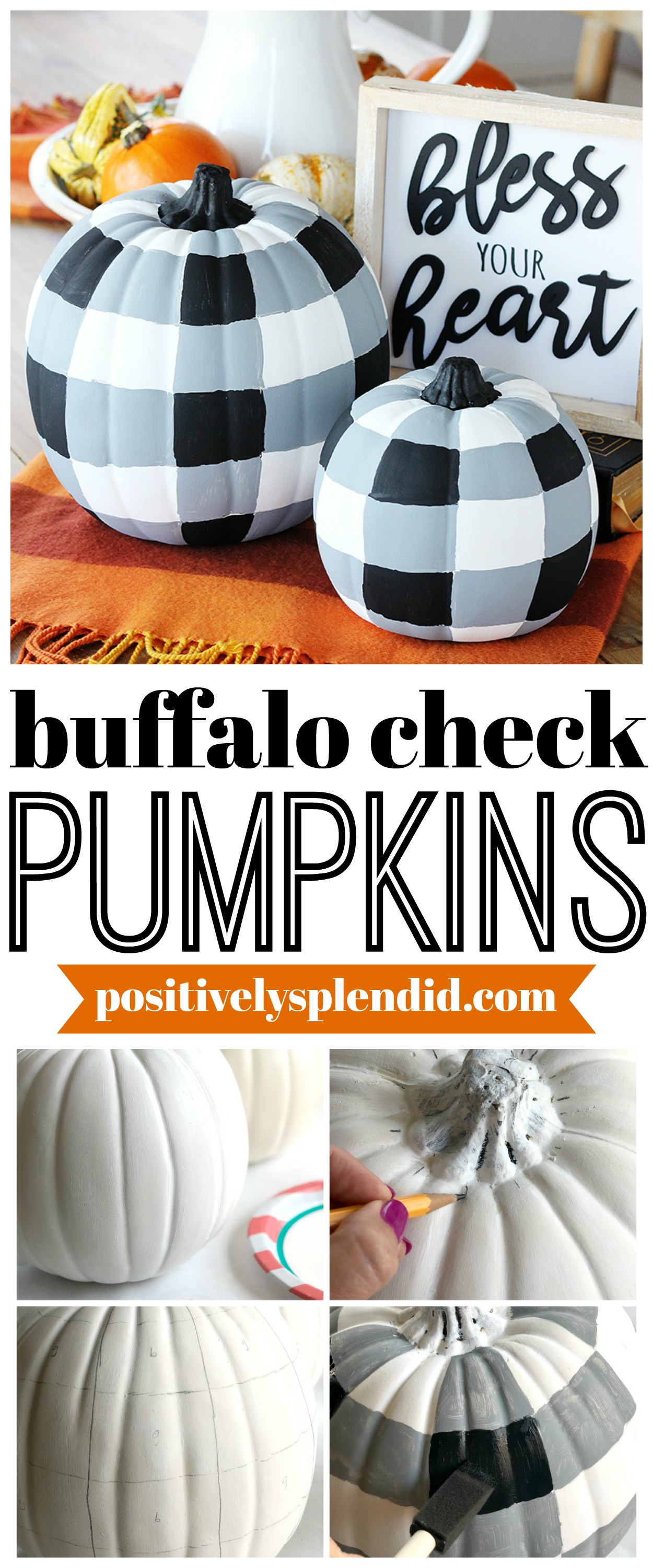 DIY Painted Buffalo Check Pumpkins