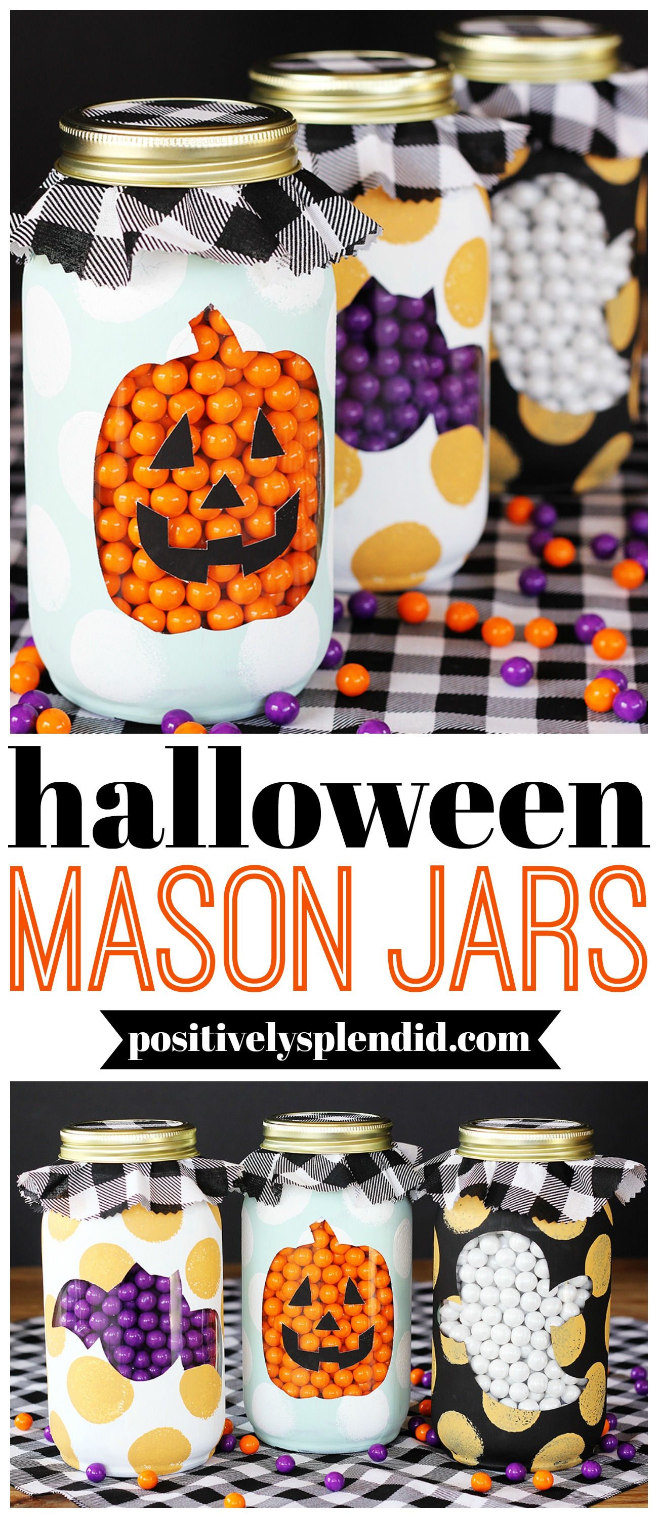 Painted Halloween Mason Jar Craft Idea