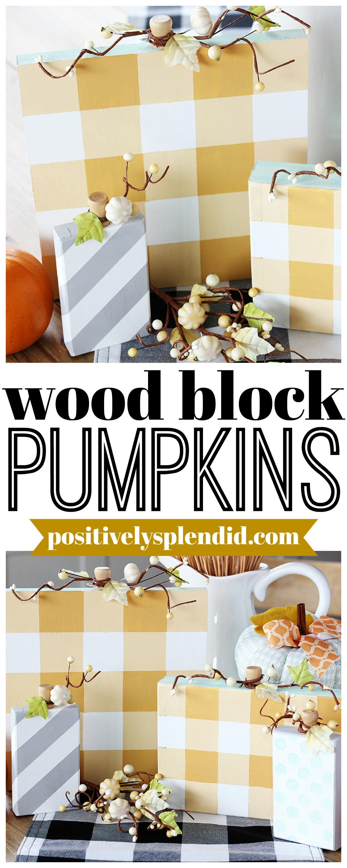 DIY Painted Wood Block Plaid Pumpkins